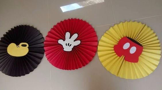 Rosetones De Papel Mickey Mouse Decoracion Fiesta Infantil
