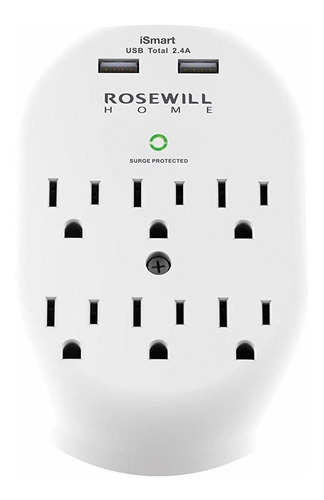 rosewill 6 outlet surge protector enchufe de pared con 2 usb