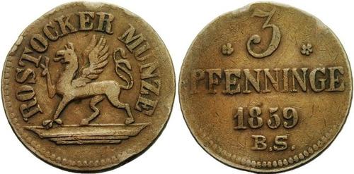 rostock, 3 pfennig 1859 bs (benjamin pedra horst) cobre.