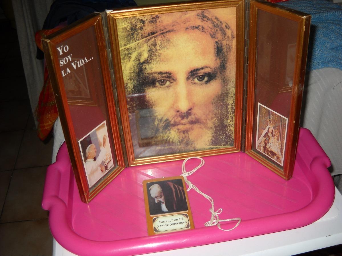 Rostro De Jesus Triptico Enmarcado. - $ 45.000 en Mercado Libre