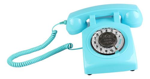 rotary retro rotary dial bell desk teléfono azul
