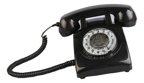 rotary retro rotary dial bell desk teléfono negro