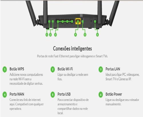roteador dir-815 ipv6 1200mbps dual band sem fio 4 antenas