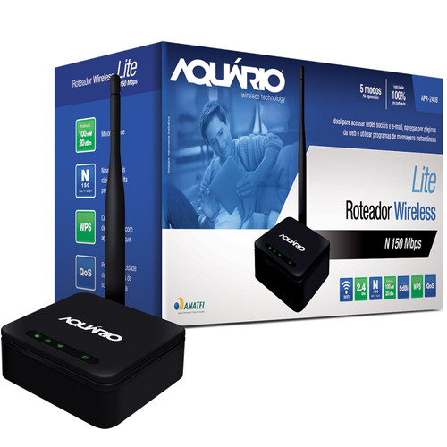 roteador wireless lite 2.4ghz 150mbps 100mw 5dbi aquário