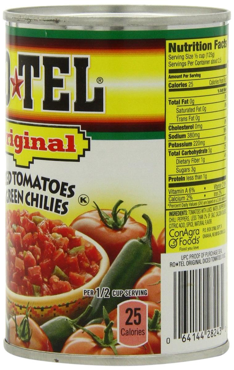 Rotel Dados De Tomate Y Chiles Verdes