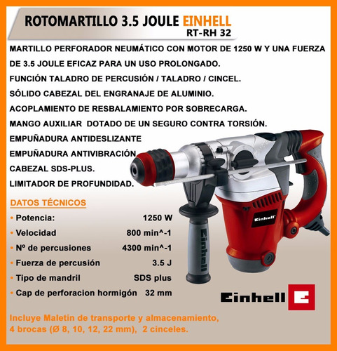 rotomartillo 1250w einhell con maletin y brocas rss
