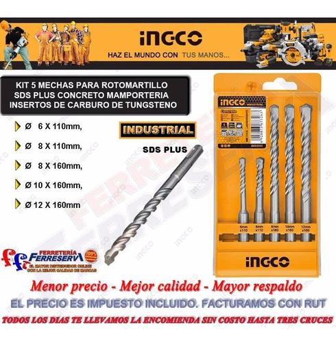 rotomartillo a bateria + kit 5 mecha sds plus ingco industri