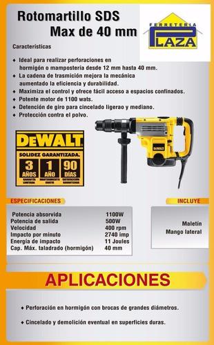 rotomartillo dewalt 1100w sds max maletín 40mm d25501k