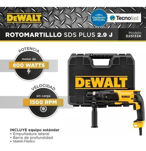 rotomartillo dewalt 800w sds plus martillo 2,9 joule d25133k