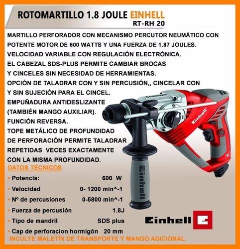 rotomartillo percutor 600 w einhell rtrh20 gratis kit 5 broc