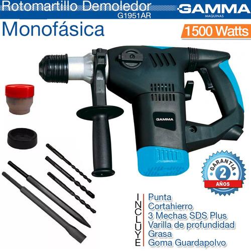 rotomartillo percutor demoledor 1500w g1951 gamma + guantes