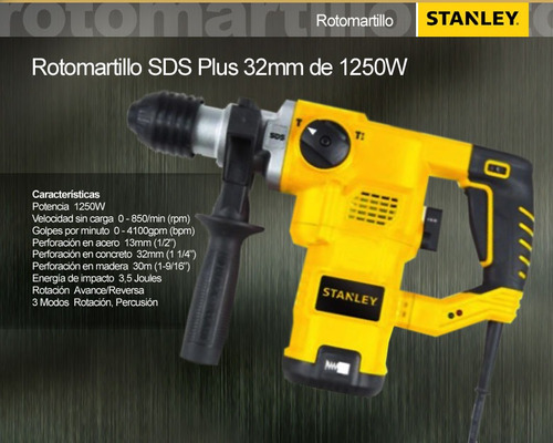 rotomartillo stanley sds plus 1250 w / 32 mm sthr1232k