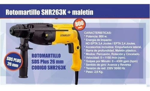 rotomartillo taladro percutor 26mm stanley + maletin shr263k