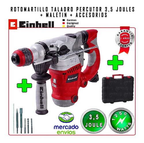 rotomartillo taladro percutor 32mm hormigon 1250w + mechas