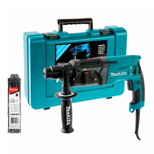 rotomartillo taladro percutor makita hr2470x17 + set mechas