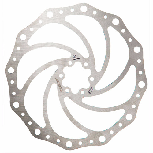 rotor disco de freio 203mm tsw inox 6 furos + parafusos bike