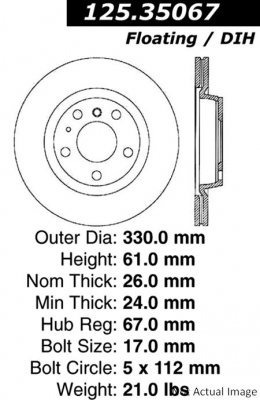 rotor freno de disco centric 125.35067