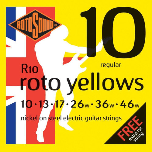 rotosound r10 roto yellows encordado .010 para eléctrica