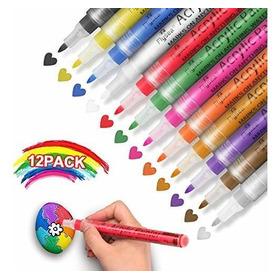 Rotuladores De Pintura Acrilica: Juego De 12 Colores A Base