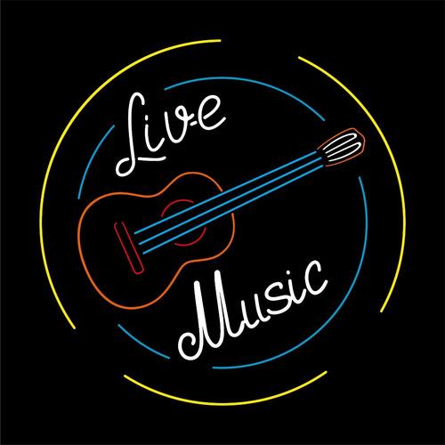 rótulo led  live music  de lujo, envíos a todo el país