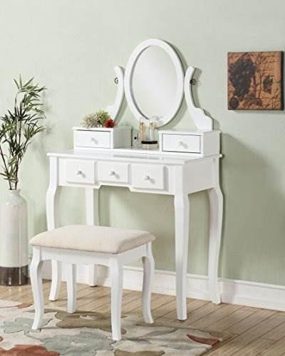 roundhill furniture ashley wood maquillaje y tocador set de