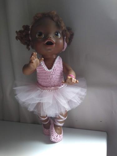 roupa baby alive bailarina rosa com tiara e saia de tule