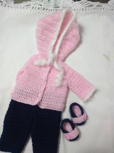 roupa baby alive crochê rosa e azul com gorro com pelinhos