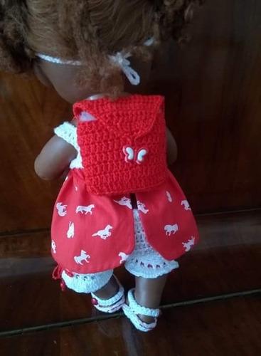 roupa baby alive croche blusa de cavalinhos, calça e mochila