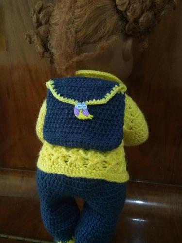roupa baby alive de crochê amarela e azul mochila coruja