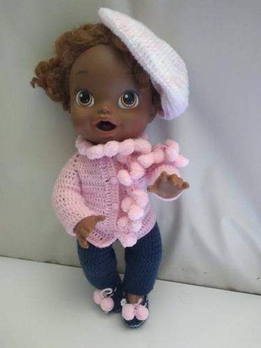 roupa baby alive de inverno rosa e azul com cachecol e boina