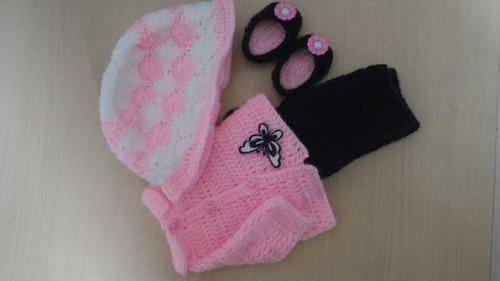 roupa baby alive em crochê de inverno rosa e azul marinho