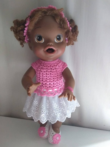 roupa baby alive rosa branca crochê e bordado inglês c tiara