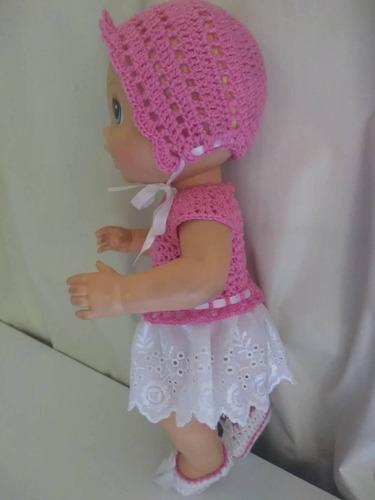 roupa baby alive rosa branca em crochê e bordado inglês