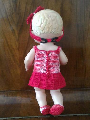 roupa baby alive vestidinho em crochê vermelho e branco