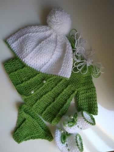 roupa baby alive vestido crochê verde branco com gorro