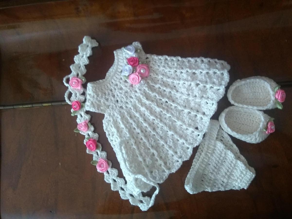 Roupa Baby Alive Vestido Em Croch 234 Marfim Com Tiara R