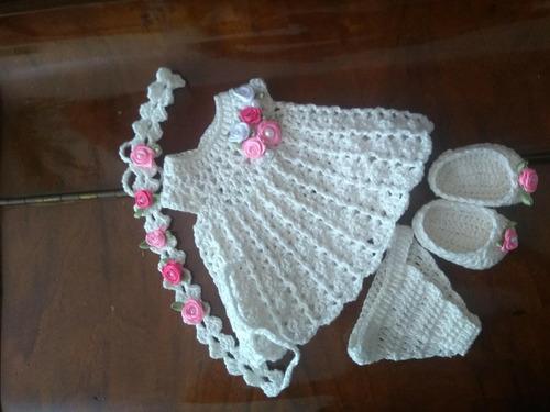 roupa baby alive vestido em crochê marfim com tiara