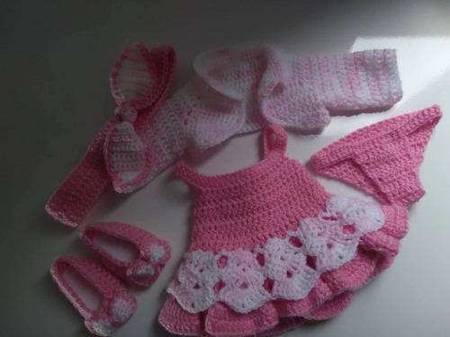 roupa baby alive vestido rosa em crochê com casaquinho laço