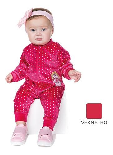 roupa bebê menina macaquinho de plush com zíper e bordado