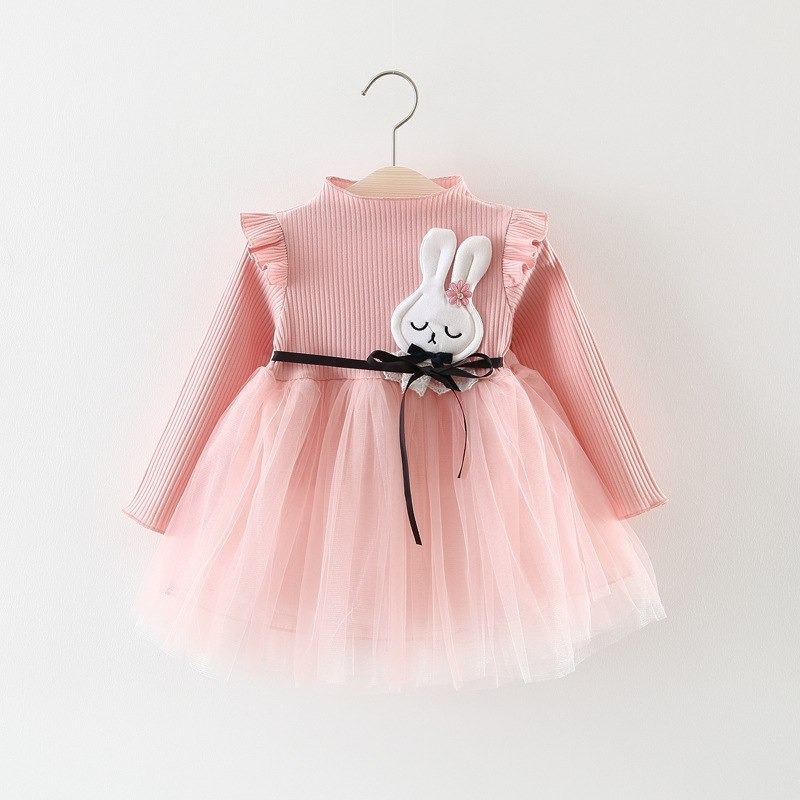 359844d2c6b9 roupa bebê menina vestido rosa manga longa coelhinho tutu. Carregando zoom.