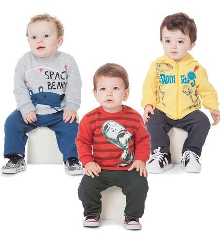 roupa bebê menino kit 3 conjuntos moletom penteado felpado