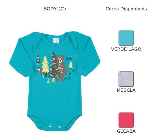 roupa bebê menino kit 4 bodies e 4 calças saruel inverno