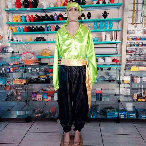roupa cigano conjunto 4 pçs umbanda - verde c/ preto