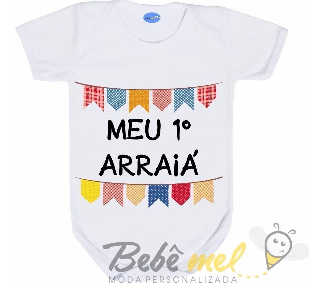 Roupa De Bebê Body Festa Junina Frase Personalizada Arraiá