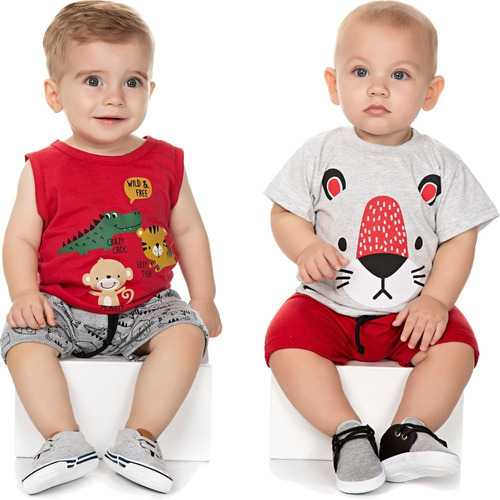 roupa de bebê menino kit 2 conjuntos curtos verão isensee