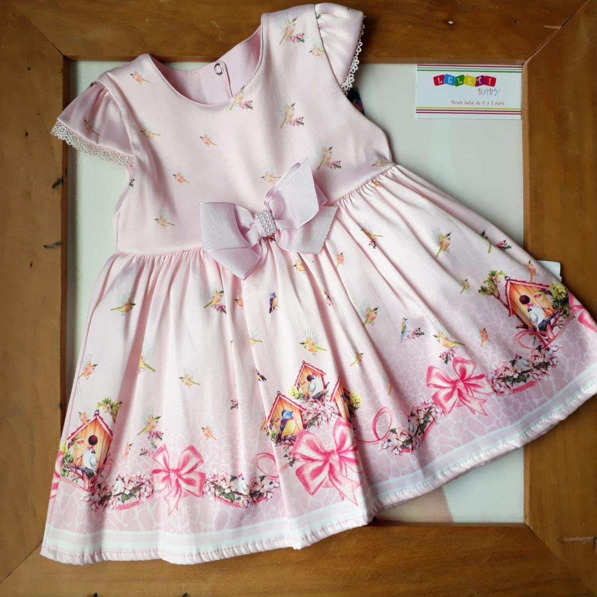 Roupa De Bebe Menina Vestido Estampado Paraíso