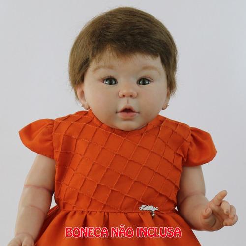 roupa de boneca vestido laranja katitus