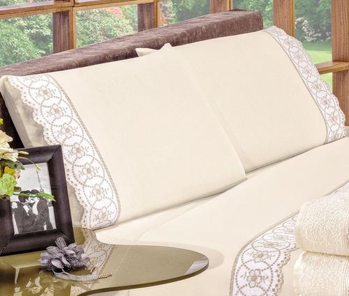 roupa de cama casal padrão florença 04 peças - palha