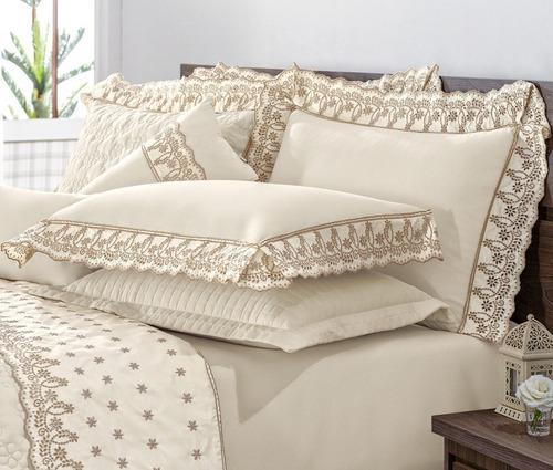 roupa de cama casal queen dolce casa sublime 04 peças -