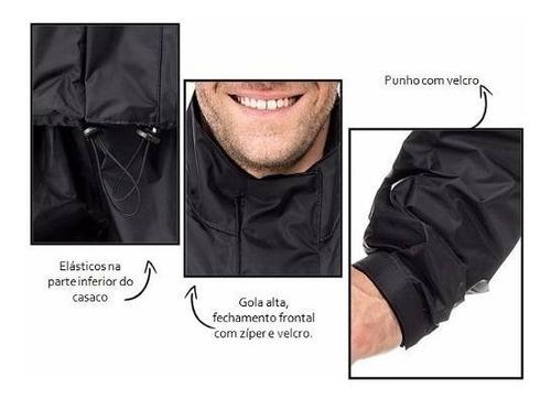 roupa de chuva motoqueiro nylon c/ gola preto pantaneiro